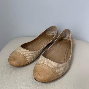 Frye | Carson Cap Toe Beige Leather Ballet Flats